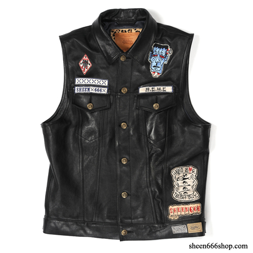 Sheen TripleSix Leather Vest w patch set