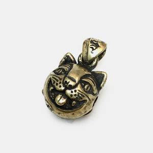 Crazy Cat Bell Pendant Brass