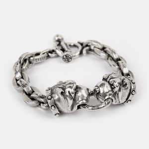 Crazy Dog Double Silver Bracelet