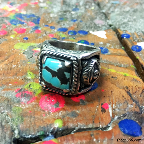 Crazy Cat Turquoise Silver Ring